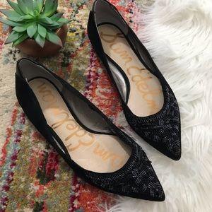 Sam Edelman • Beaded Black Leather Flats